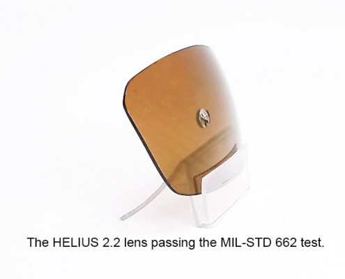 The HELIUS 2.2 Lens after being tested by the MIL-STD 662 specifications.